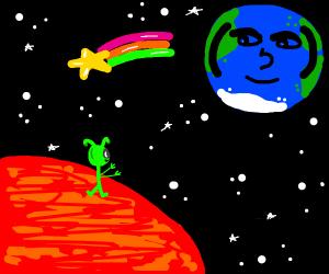 lenny face earth looks at alien on mars