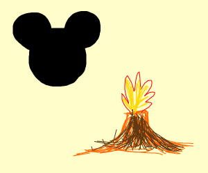 Mickey mouse and volcano