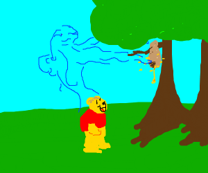 Winnie the Pooh with a blue spirit