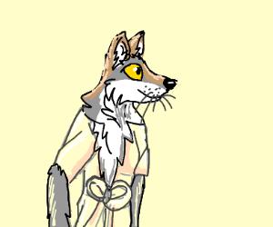 furry (wolf) in bathrobe