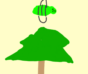 A green bee flies over a tree