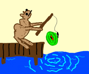 Camel fishing for watermelons