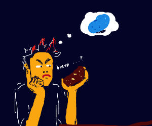man thinks of blue potato