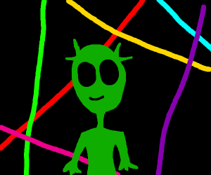 Alien in front of colorful lasers