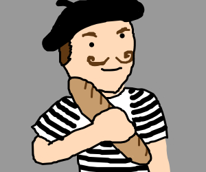 French man with a baguette