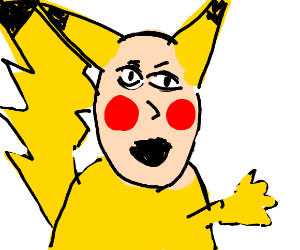 Pikachu with a human face