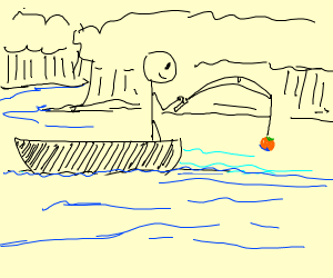 Stickman fishing for oranges with boat in ddi