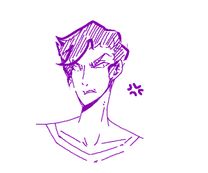 Angry person with purple hair