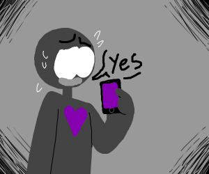 Worried person says yes at his phone