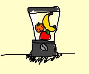 food in a blender