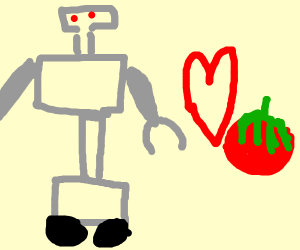 robot in love with a tomato