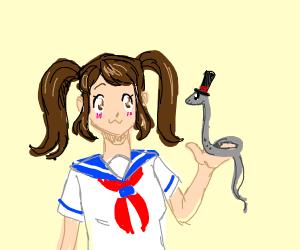 kawaii brunette holds a grey snake w/ lil hat