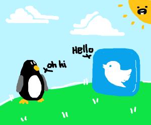 Twitter bird greets penguin