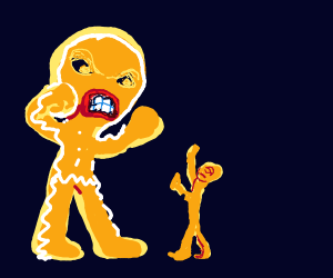 big gingerbread man threatens small man