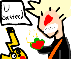 Bakugo stares down a Pikachu