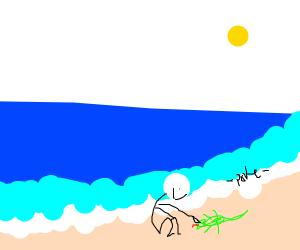 man pokes lizard on beach