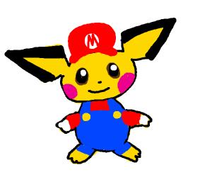 Pichu dressed as Mario