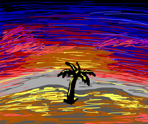 A sad, lonely, palm tree