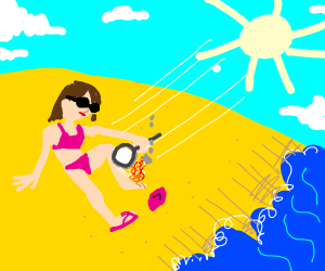Beach babe burns her foot