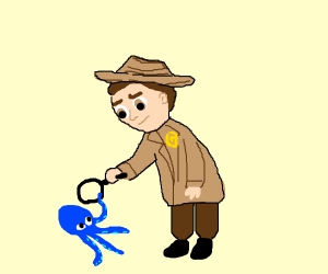 Detective inspects squid.