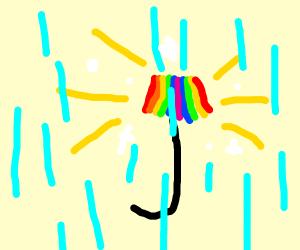 rainbow umbrella shining in rain