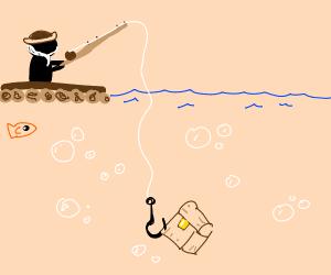 Man fishing for treasure