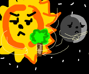 sun takes away tree from moon
