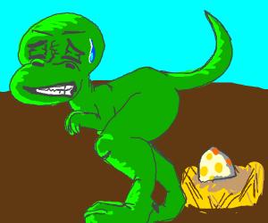 Dinosaur giving birth