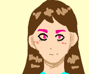 Brown haired girl w/ pink eyebrows and eyes