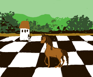 Horse on chessboard next to a house