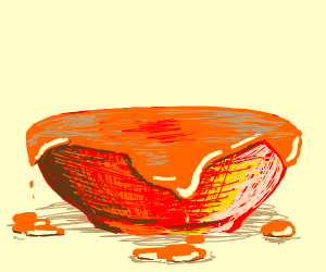 Red bowl overflowing with orange sauce