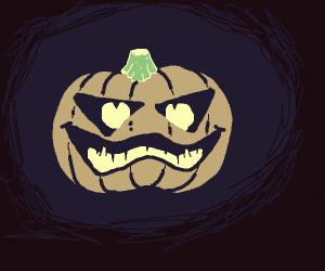 menacing carved pumpkin