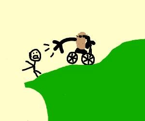 Potato steals a mans bike