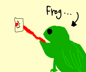 Frog eating an iPhone