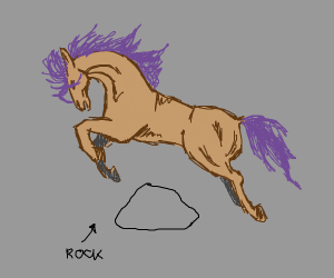 Horse jumping over a rock