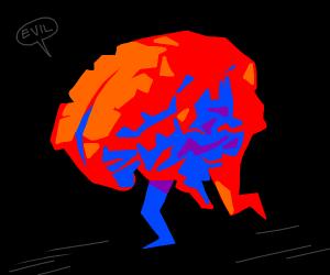brain walking down road with evil plan