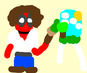 deadpool wearing a brown curly wig