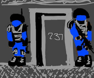Guards guarding door 237
