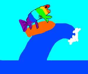 A rainbow fish man surfing that wave bruh