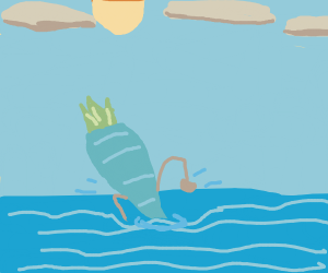 Blue Carrot Swims through the Ocean