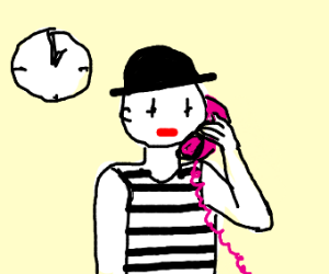Mime artist on the phone for 5 minutes