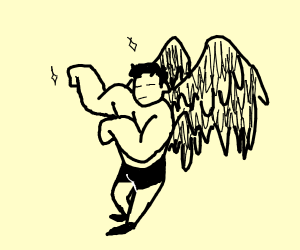 stronk man with muscular wings