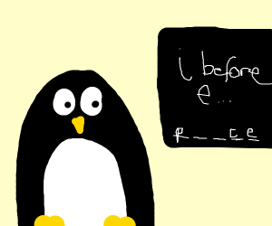 Penguin learns to spell