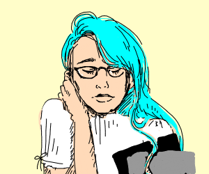 Blue-haired anime scholar is thinking
