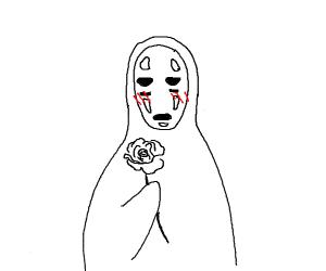 kaonashi receives flower