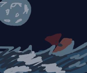 Moonlight over rough sea