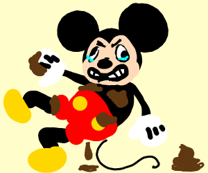mickey-mouse with poo on him