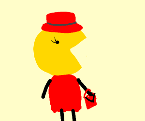 Woman in red dress/hat with pacman for face