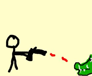 people shooting an alligator