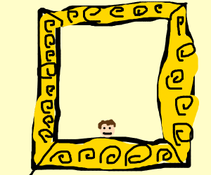 big gold frame with a little portrait